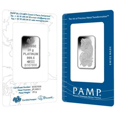 Box of 25 - 20 gram PAMP Suisse Lady Fortuna Platinum Bar .9995 Fine (In Assay)
