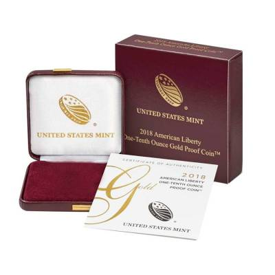 2018 W 1/10 oz $10 American Liberty Proof Gold Coin (OEM Box)