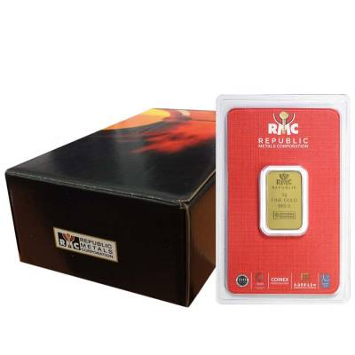 5 gram Republic Metals (RMC) Gold Bar .9999 Fine (In Assay)