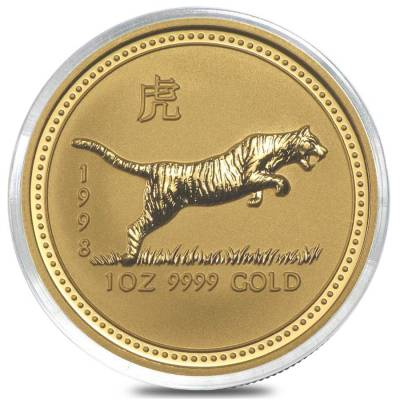 1998 1 oz $100 Gold Lunar Year of the Tiger Australia Perth Mint Series I BU (In Cap)