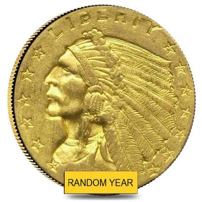 $2.5 Gold Quarter Eagle Indian Head - Polished or Cleaned (Random Year)