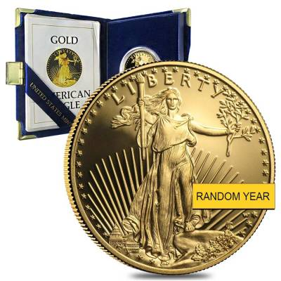 1 oz Gold American Eagle $50 Coin Proof w/Box & COA (Random Year)