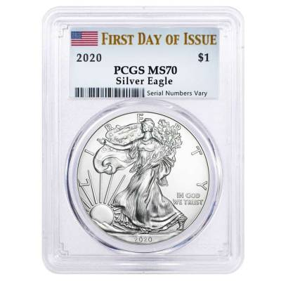 2020 1 oz Silver American Eagle $1 Coin PCGS MS 70 First Day of Issue