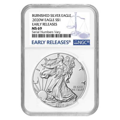 2020-W 1 oz Burnished Silver American Eagle NGC MS 69 Early Releases