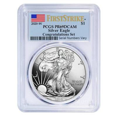2020-W 1 oz Proof Silver American Eagle Congratulations Set PCGS PF 69 DCAM First Strike