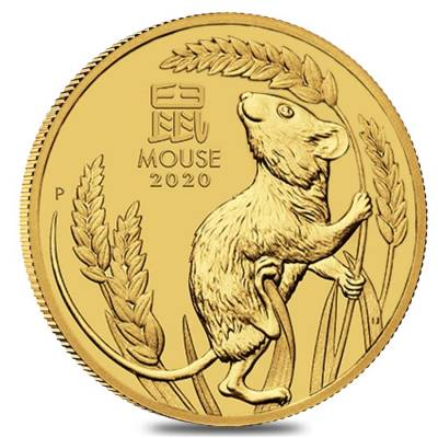 2020 1 oz Gold Lunar Year of The Mouse / Rat BU Australia Perth Mint In Cap