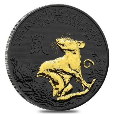 2020 Great Britain 1 oz Silver Year of the Mouse / Rat Coin .999 Fine Black Ruthenium 24K Gold Edition (w/Box & COA)