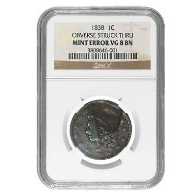 1838 Coronet Head Large Cent NGC VG 8 BN Mint Error (Obv Struck Thru)