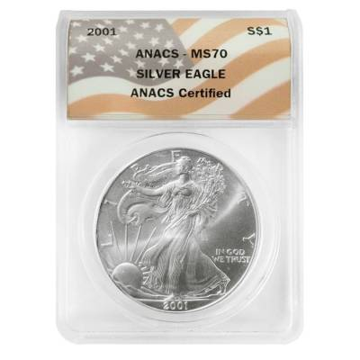 2001 1 oz Silver American Eagle $1 Coin ANACS MS 70