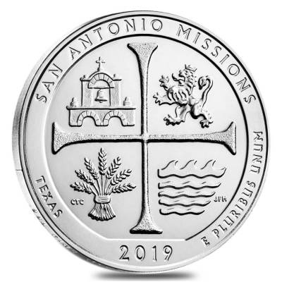 2019 5 oz Silver America the Beautiful ATB Texas San Antonio Missions National Historical Park Coin
