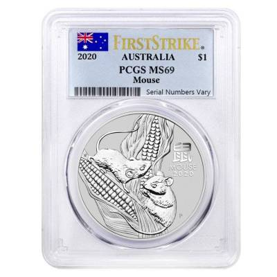 2020 1 oz Silver Lunar Year of The Mouse / Rat Australia Perth Mint PCGS MS 69 First Strike