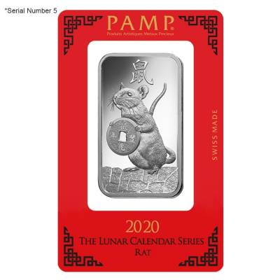 1 oz PAMP Suisse Year of the Mouse / Rat Platinum Bar (In Assay) Serial #5