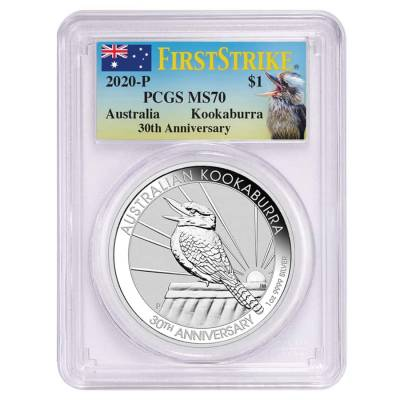 2020 1 oz Silver Australian Kookaburra Perth Mint PCGS MS 70 FS (30th Ann. Kookaburra Label)