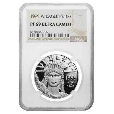 1999 W 1 oz $100 Platinum American Eagle Proof Coin NGC PF 69 UCAM