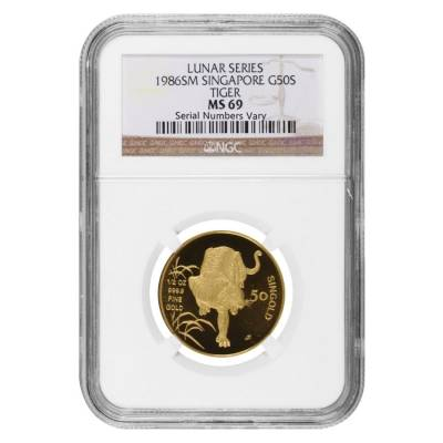 1986 1/2 oz Singapore 50 Singold Year of the Tiger Gold Coin NGC MS 69