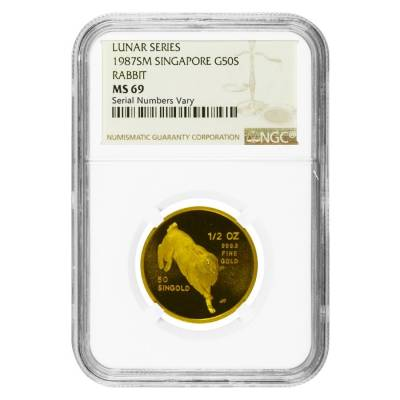 1987 1/2 oz Singapore 50 Singold Year of the Rabbit Gold Coin NGC MS 69