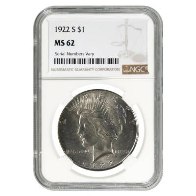 1922 S Peace Silver Dollar $1 NGC MS 62