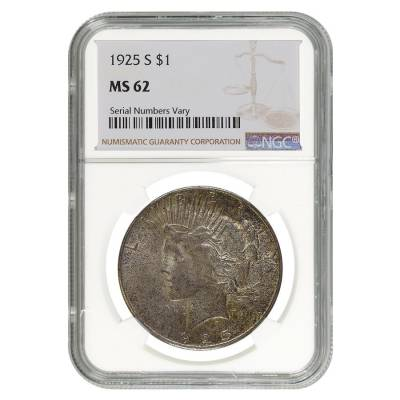 1925 S Peace Silver Dollar $1 NGC MS 62
