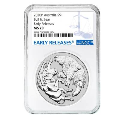 2020 1 oz Silver Australian Bull and Bear Coin Perth Mint NGC MS 70 Early Releases