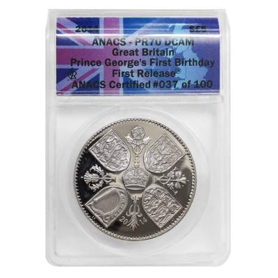 2014 Great Britain Prince George's First Birthday 5 Pound Proof Silver Coin ANACS PF 70