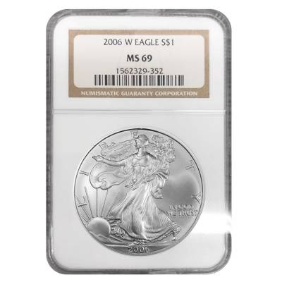 2006-W 1 oz Burnished Silver American Eagle $1 Coin NGC MS 69