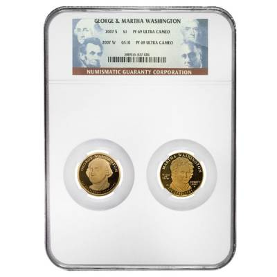 2007 S / W George & Martha Washington $1 and $10 Proof Gold 2-Coin Set NGC PF 69 UCAM
