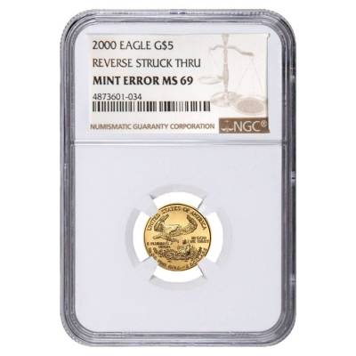 2000 1/10 oz $5 Gold American Eagle NGC MS 69 Mint Error (Rev Struck Thru)