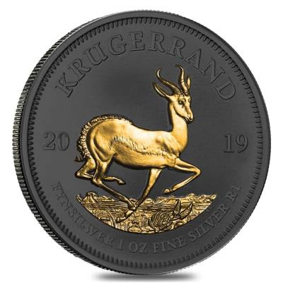 2019 South Africa 1 oz Silver Krugerrand Black Ruthenium 24K Gold Edition (w/Box & COA)