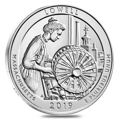 2019 5 oz Silver America the Beautiful ATB Massachusetts Lowell National Historical Park Coin