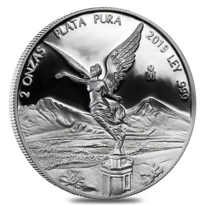 2019 2 oz Mexican Silver Libertad Coin .999 Fine Proof (In Cap)