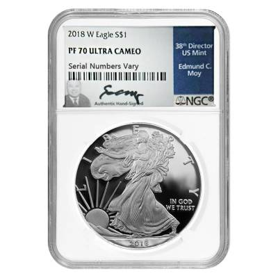 2018-W 1 oz Proof Silver American Eagle NGC PF 70 UCAM (Edmund C. Moy Signature)