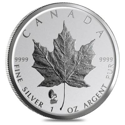 2019 1 oz Silver Canadian Maple Leaf Phonograph Privy Reverse Proof .9999 Fine $5 Coin BU