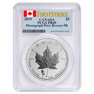 2019 1 oz Silver Canadian Maple Leaf Phonograph Privy Reverse Proof PCGS PF 69 FS