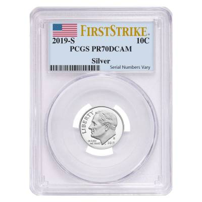 2019 S Proof Silver Roosevelt Dime First .999 Fine Silver PCGS PF 70 FS
