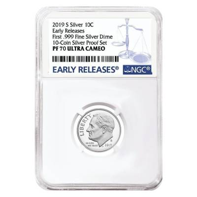 2019 S Proof Silver Roosevelt Dime First .999 Fine Silver NGC PF 70 ER