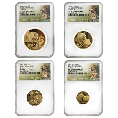 2016 1.85 oz South Africa Cheetah - Big Cats Series Proof Gold 4-Coin Set NGC PF 70 (w/Box & COA)