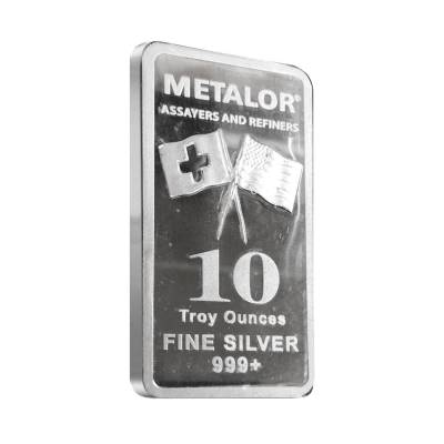 10 oz Metalor Silver Bar .999+ Fine (Sealed)