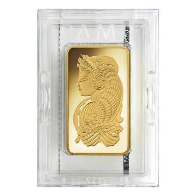 10 oz PAMP Suisse Lady Fortuna Gold Bar .9999 Fine (In Assay)