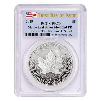 2019 1 oz Modified Proof Silver Canadian Maple PCGS PF 70 FDOI (Pride of Two Nations)