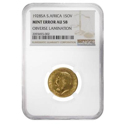 1928-SA Gold South Africa Gold Sovereign George V NGC AU 58 Mint Error