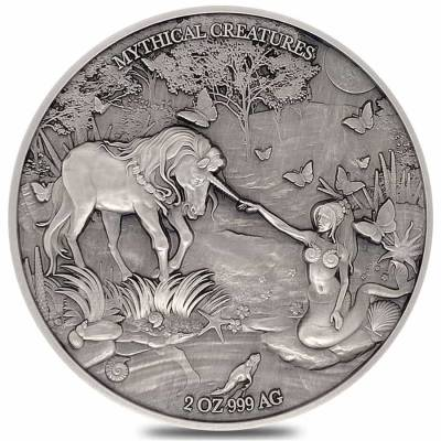 2021 Chad 2 oz Silver Mermaid & Unicorn Serial #8 PCGS MS 70 FDOI Antiqued High Relief - Mythical Creatures