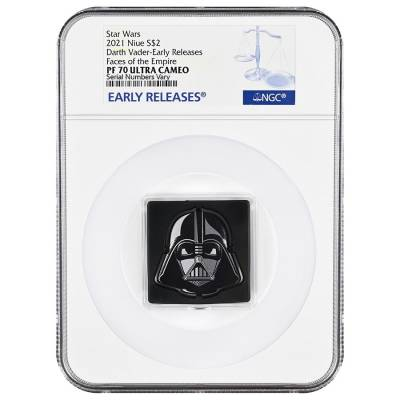 2021 Niue 1 oz Silver Darth Vader Shaped Coin Star Wars Faces of the Empire NGC PF 70 ER