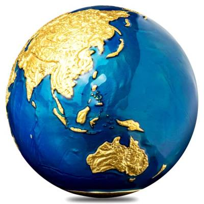2021 3 oz Silver 24K Gold Plating Blue Marble Planet Earth Spherical Coin Barbados .999 Fine (w/Box & COA)