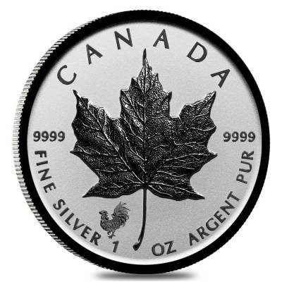 2017 1 oz Silver Canadian Maple Leaf Lunar Rooster Privy .9999 Fine $5 Coin BU