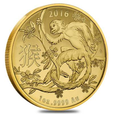 2016 1 oz Gold Lunar Year of the Monkey Coin .9999 Fine BU (In Capsule) - Australian Royal Mint