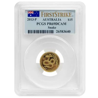 2013 1.35 oz Proof Gold Lunar Year of The Snake Australia Perth Mint 3-Coin Set PCGS PF 69 FS