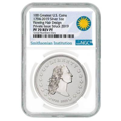 1794-2019 Smithsonian America's First Silver Dollar 3-Medal Set NGC PF 70