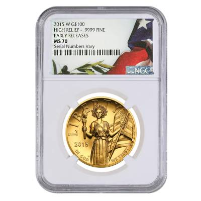 2015 W 1 oz $100 American Liberty High Relief Gold Coin NGC MS 70 Early Releases (w/Box and COA)