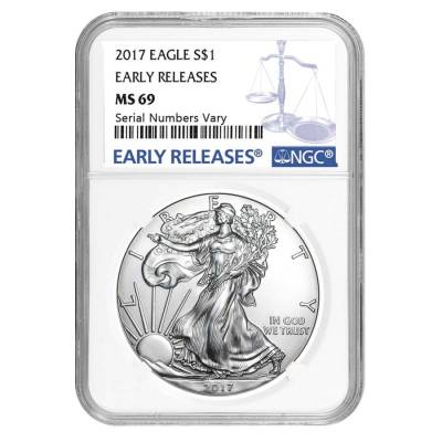 2017 1 oz Silver American Eagle $1 Coin NGC MS 69 Early Releases