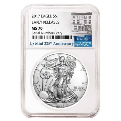 2017 1 oz Silver American Eagle $1 Coin NGC MS 70 Early Releases (225th Ann. Label)